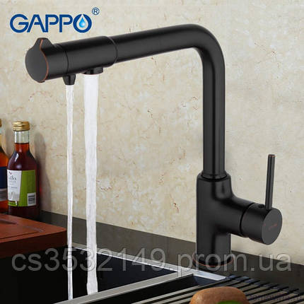 Змішувач для кухні з підключенням до фільтру Gappo G4390-10 Чорний, фото 2