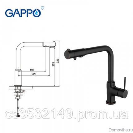 Смеситель для кухни с подключением к фильтру Gappo G4390-10 Черный, фото 2
