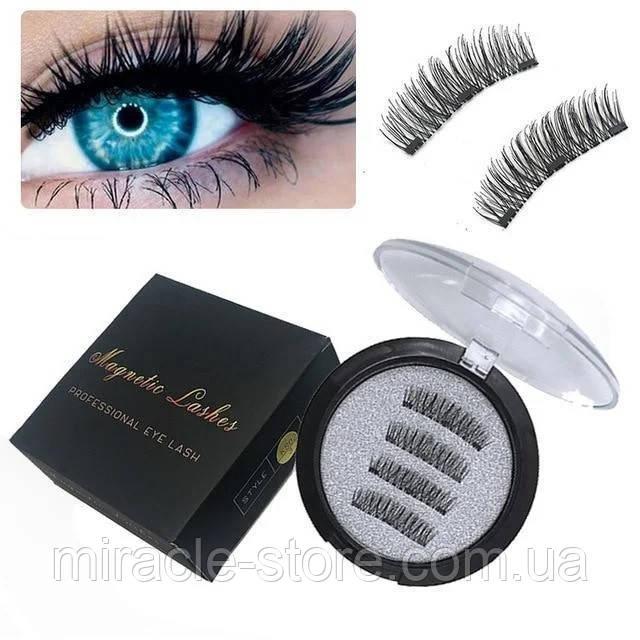 Магнитные ресницы Magnet Lashes Professional Eye Lash 3 магнита 3D эффект круглый футляр