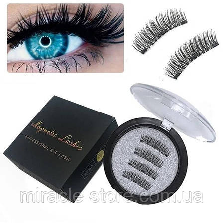 Магнитные ресницы Magnet Lashes Professional Eye Lash 3 магнита 3D эффект круглый футляр, фото 2