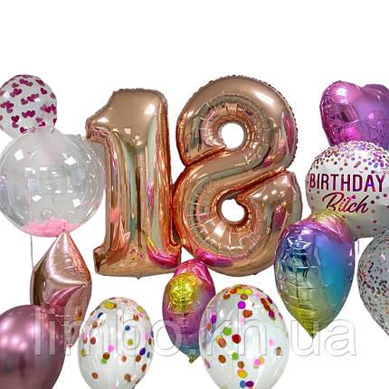Шарики девочке на день рождения и фольгированные цифры 18, фото 2