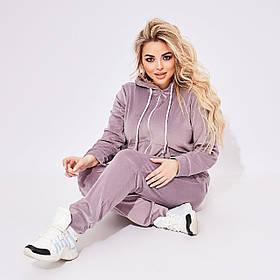 Спортивный Велюровый женский костюм Фиолетовый Большого размера