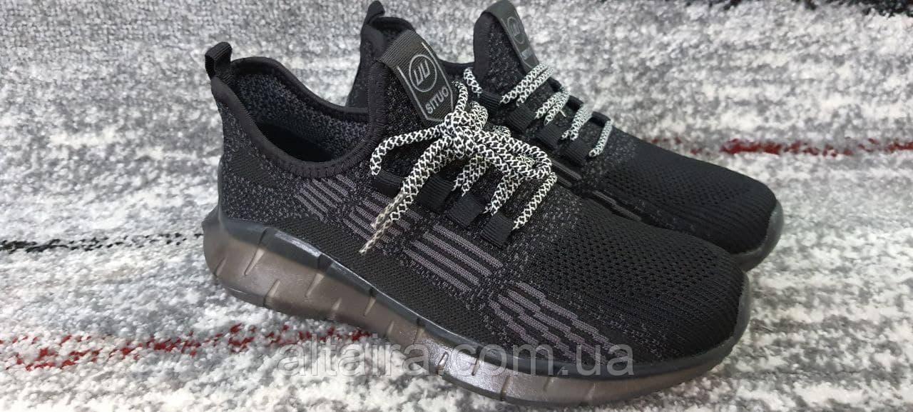 Підліткові кросівки сітка темно-сірого кольору на силіконовій підошві