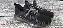 Подростковые кроссовки сетка темно-серого цвета на силиконовой подошве