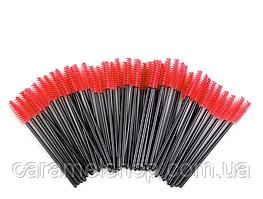 Щеточки для ресниц и бровей, упаковка 50 шт, цвет черный + красный