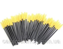 Щеточки для ресниц и бровей, упаковка 50 шт, цвет черный + желтый