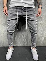 Світло-сірі джинси чоловічі завужені демісезоні однотоні Джинсы серые мужские узкие однотонные с шнурком