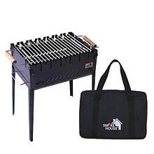 Розкладний мангал валізу на 6 шампурів з сталі з сумкою і гратами