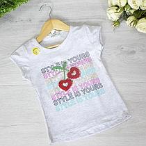 Дитяча футболка з трикотажу, для дівчаток 1-4 роки (4 од. уп), Червоний