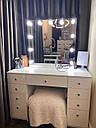 Стол для макияжа с гримерным зеркалом на надставке, стол визажиста с ящиками, цвет - белый, фото 8
