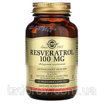 Solgar, Ресвератрол, 100 мг, Resveratrol, 60 растительных капсул