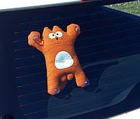 Саймон Кот рыжий на присосках - Сувенир в машину - Мягкая игрушка Кот Саймон - Подарок автомобилисту