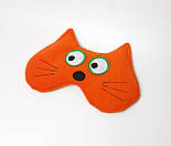"""Маска для сна """"Рыжий кот"""" - Мягкая флисовая маска для сна на резинке - Прикольная маска для сна, фото 2"""