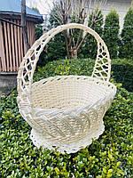 Великодній кошик білий, Плетений кошик з лози 36х25х36, фото 1