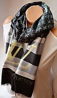 Шарф палантин Louis Vuitton (Луи Витон) черно-серый