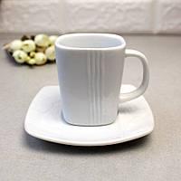 Квадратна біла чашка для кави 100 мл + блюдце HLS (HR1315), ресторанний посуд