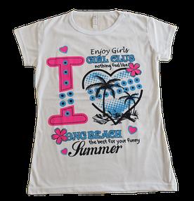 Подростковая футболка для девочек, белая