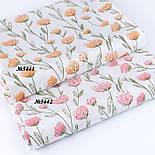"""Сатин ткань """"Розово-лососевые цветы на длинных стеблях"""" на белом, №3442с, фото 6"""