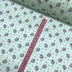 Тканина польська бавовняна, букети рожеві, м'ятні на м'ятному ВІДРІЗ (0,8*1,6)