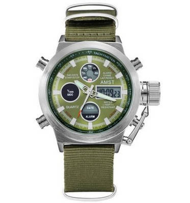 AMST 3003 Silver-Green Green Wristband