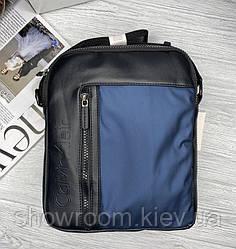 Мужская брендовая сумка на плечо (080) синяя