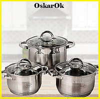 Набор кастрюль из нержавеющей стали German Family GF-2028 Набор кухонной посуды, Кастрюли с крышками