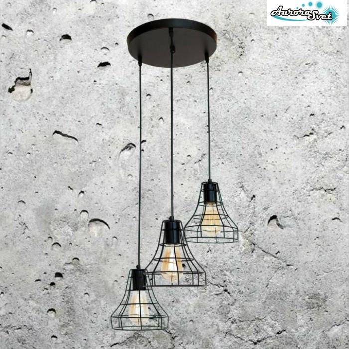 Люстра подвесная AuroraSvet loft  черная. светильник люстра. Светодиодный светильник люстра.