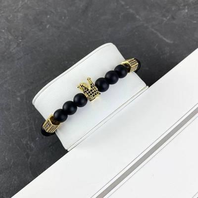 2B Rich Bracelet King 8 mm, 19 cm Black-Gold