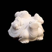Фигурка для Росписи / Гипс / 3 Жабы на Черепахе / Белый 8x6x4 см