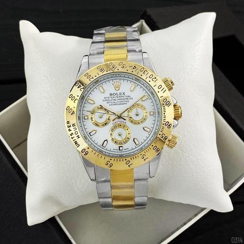 Годинники наручні Rolex Daytona Automatic Silver-Gold-White