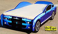 Детская кровать машина синяя Ford Mustang Shelby (Cпальное место 150*70 см)