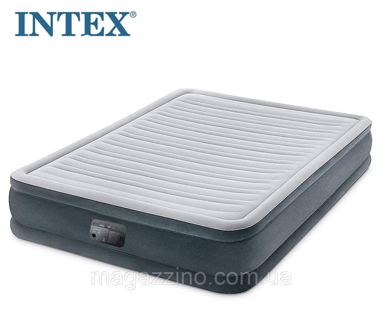 Надувной двухместный матрас Intex с велюровым покрытием, со встроенным насосом, 203x152x33 см.