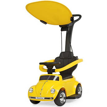 Детский електромобиль-толокар Volkswagen Beetl 3 в 1 желтый