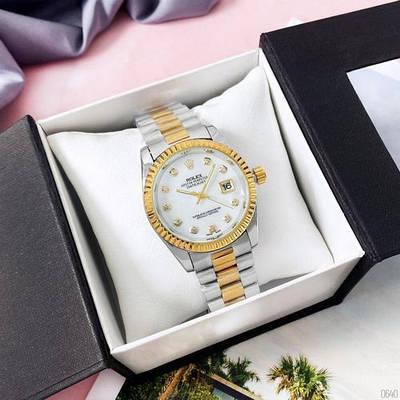 Женские кварцевые часы Rolex Date Just 067 Pearl Silver-Gold-White