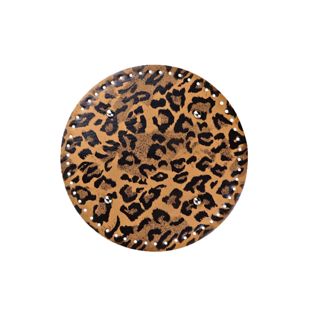 Кругле денце для сумки екокожа Тигровое Ø 22 см з ніжками фурнітура срібло
