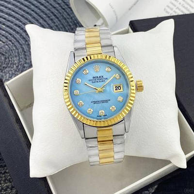 Часы Rolex Date Just 067 Pearl Silver-Gold-Blue