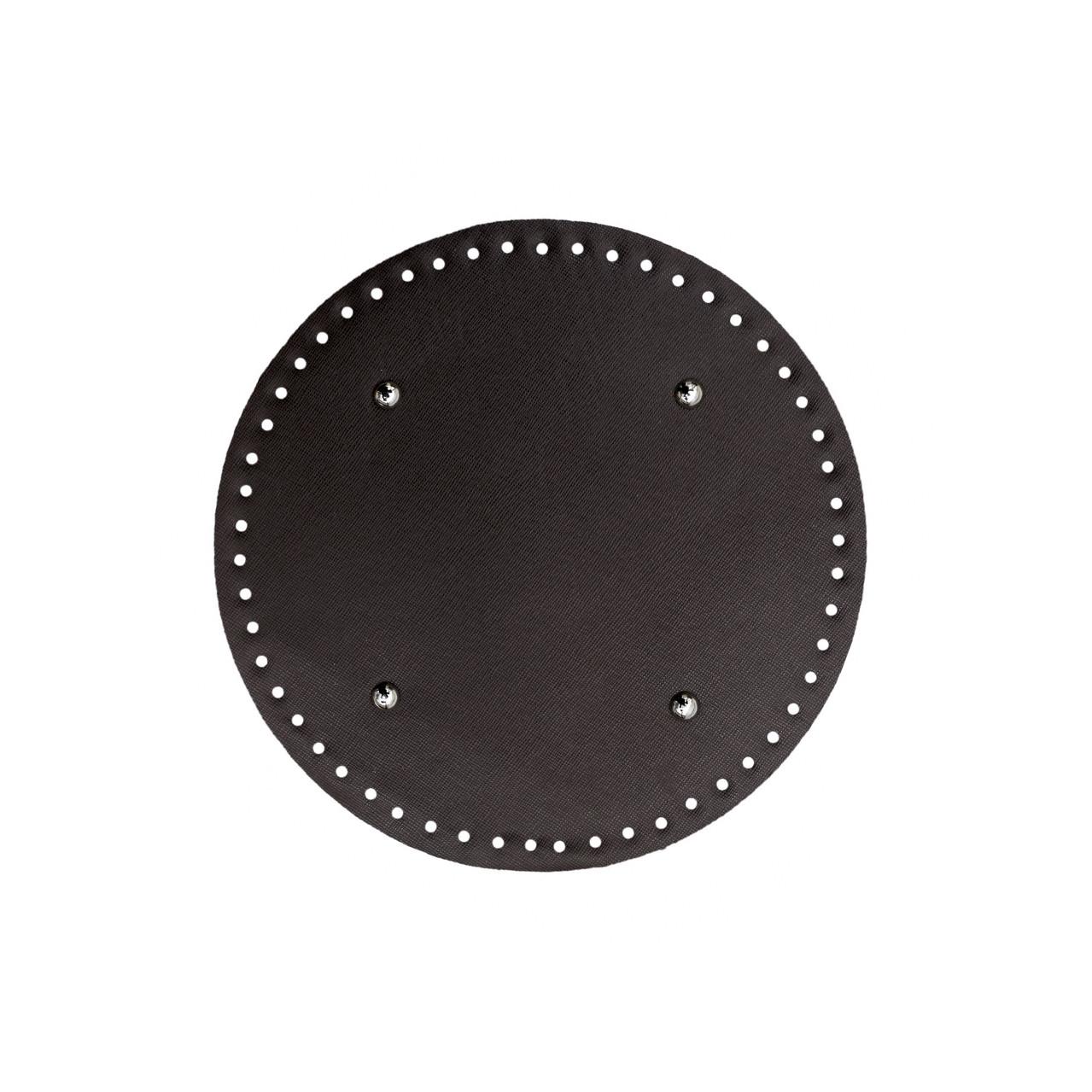 АКЦИЯ Донышко круглое для сумки экокожа Шоколад Ø 22 см с ножками фурнитура серебро