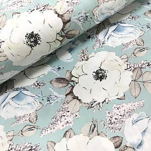 Ткань сатин с рисунком, крупные бутоны цветов на мятном (ТУРЦИЯ шир. 2,4 м) ОТРЕЗ (1,2*2,4)