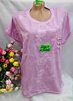 Женская коттоновая футболка рванка Цветы размер норма 48-52, цвет уточняйте при заказе, фото 1