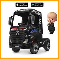 Електромобіль дитячий вантажівка Bambi Мерседес M 4208EBLR-2 шкір.сід EVA муз світ MP3 USB чорний