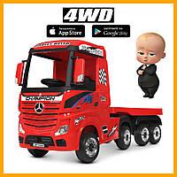 Дитячий електромобіль з причепом M 4208EBLR-3(2) Truck тягач (фура) червоний
