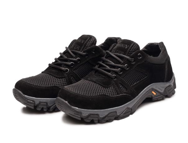 Жіночі тактичні кросівки -120сітка/замша/чорні
