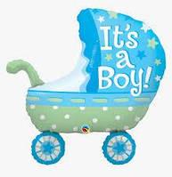 Шар коляска голубая фольгированный для мальчика It`s a boy 69* 88 см