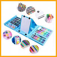 Великий набір для малювання та творчості Art Set 208 предметів у валізці з мольбертом блакитний
