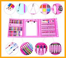 Набір малювання з мольбертом 208 предметів Набір для творчості Art Set 208 деталей рожевий