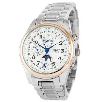Часы наручные Longines Master Collection Moonphases Steel Silver-Cuprum-White