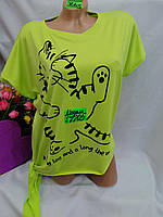 Женская трикотажная футболка Кот размер норма 48-50, цвет уточняйте при заказе, фото 1