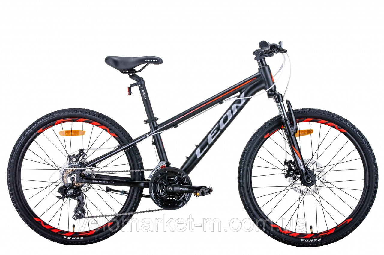 """Велосипед 24"""" Leon JUNIOR AM DD 2021 чорно-оранжевий з сірим"""