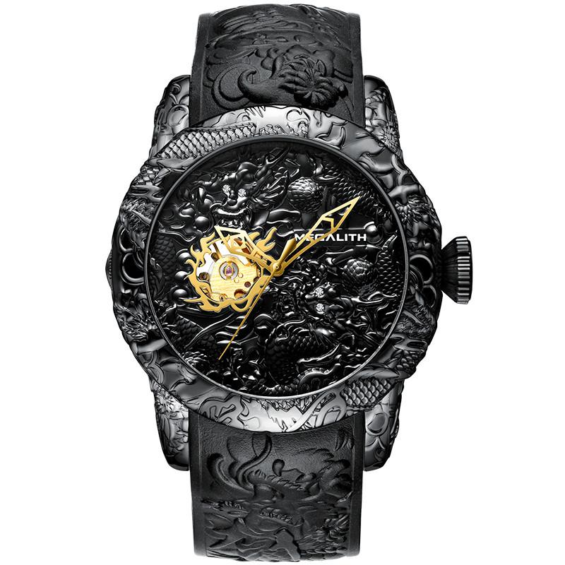 Megalith 8041MA Black-Gold Dragon Sculpture