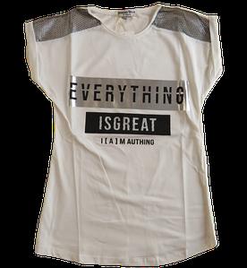 Подростковая футболка-туника для девочек, молочная